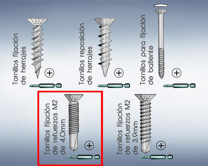 Tornillo para fijación de refuerzos M2 de 4.0mm